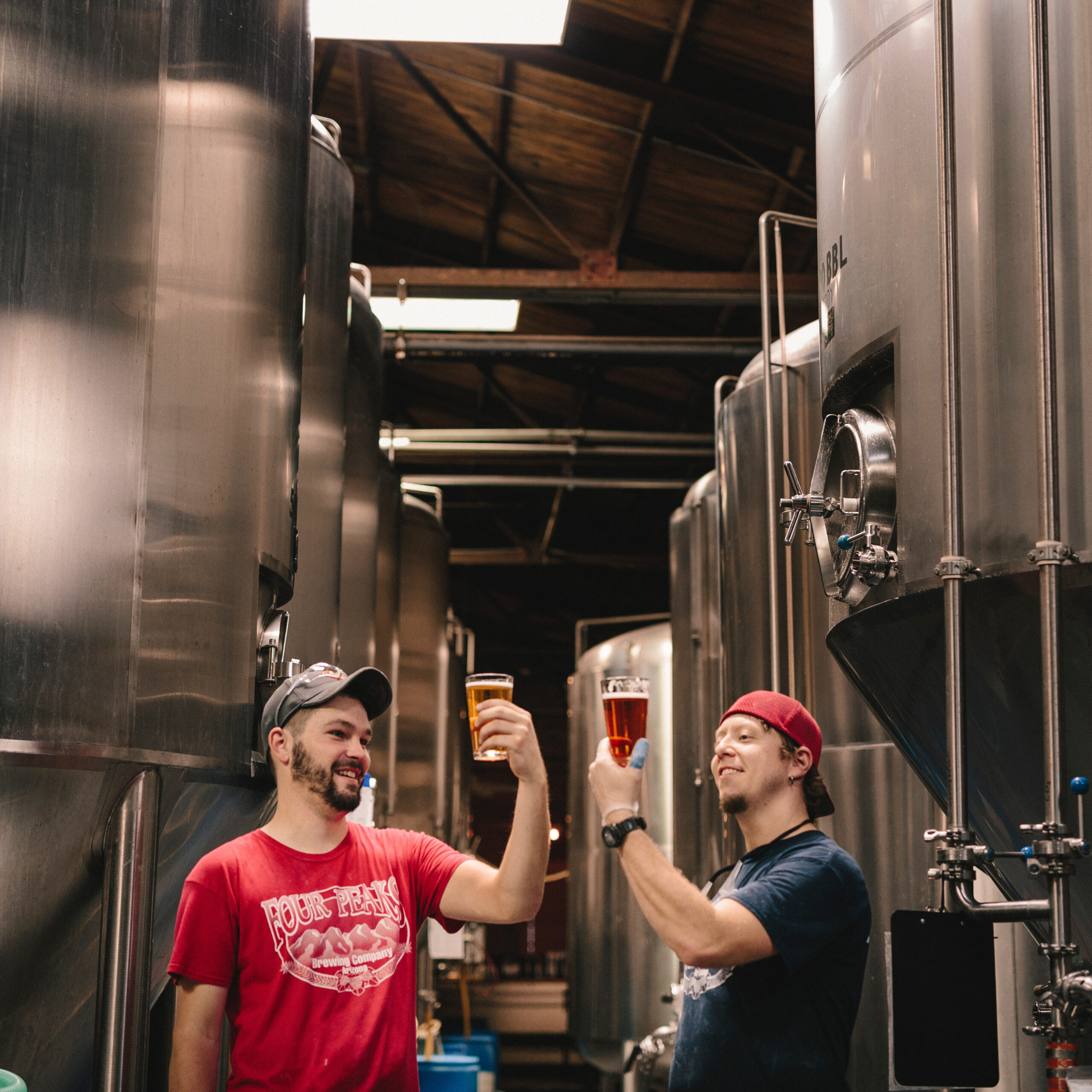 Two men testing beer quality in a local brewery