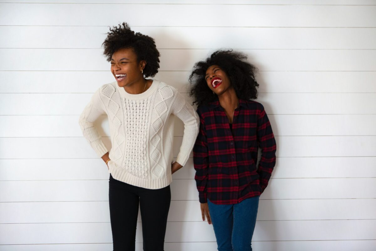 two young women laughing